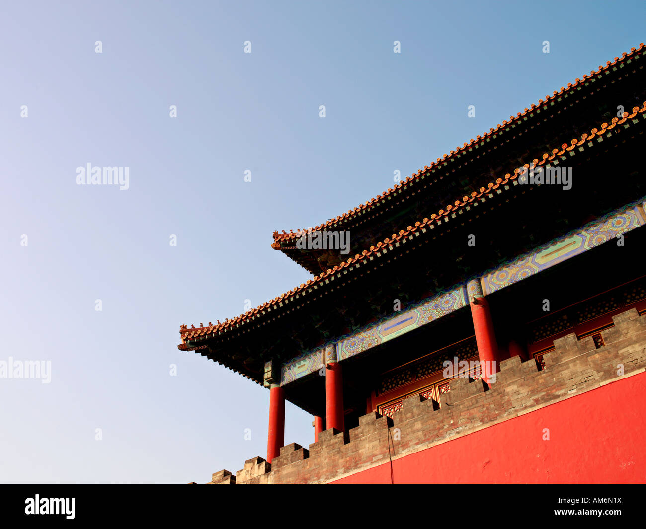 A view of the roof and upper level of the Gate of Divine Might part of the wall around the Forbidden City in Beijing, - Stock Image