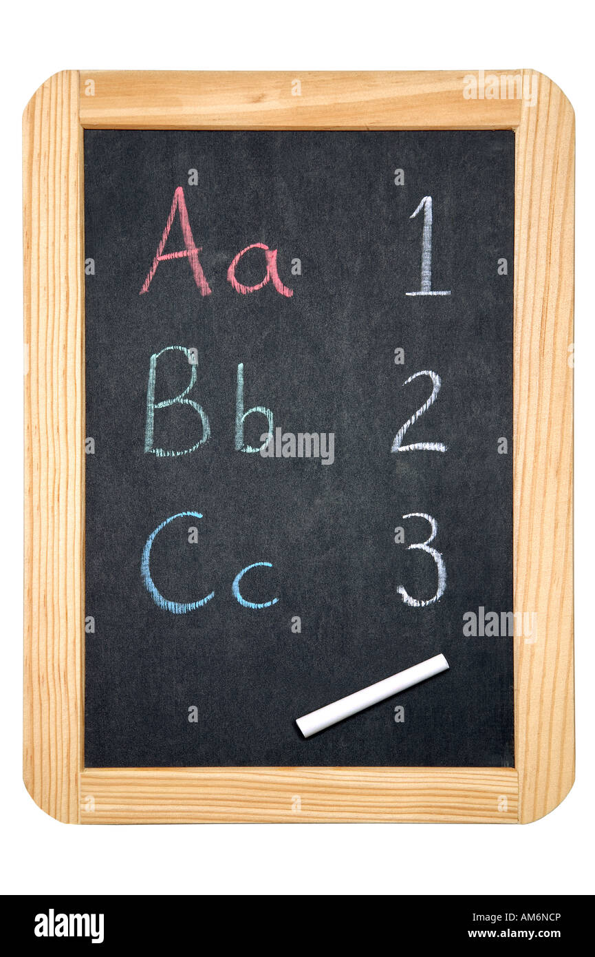 ABC 123 on a blackboard isolated on white with clipping path - Stock Image