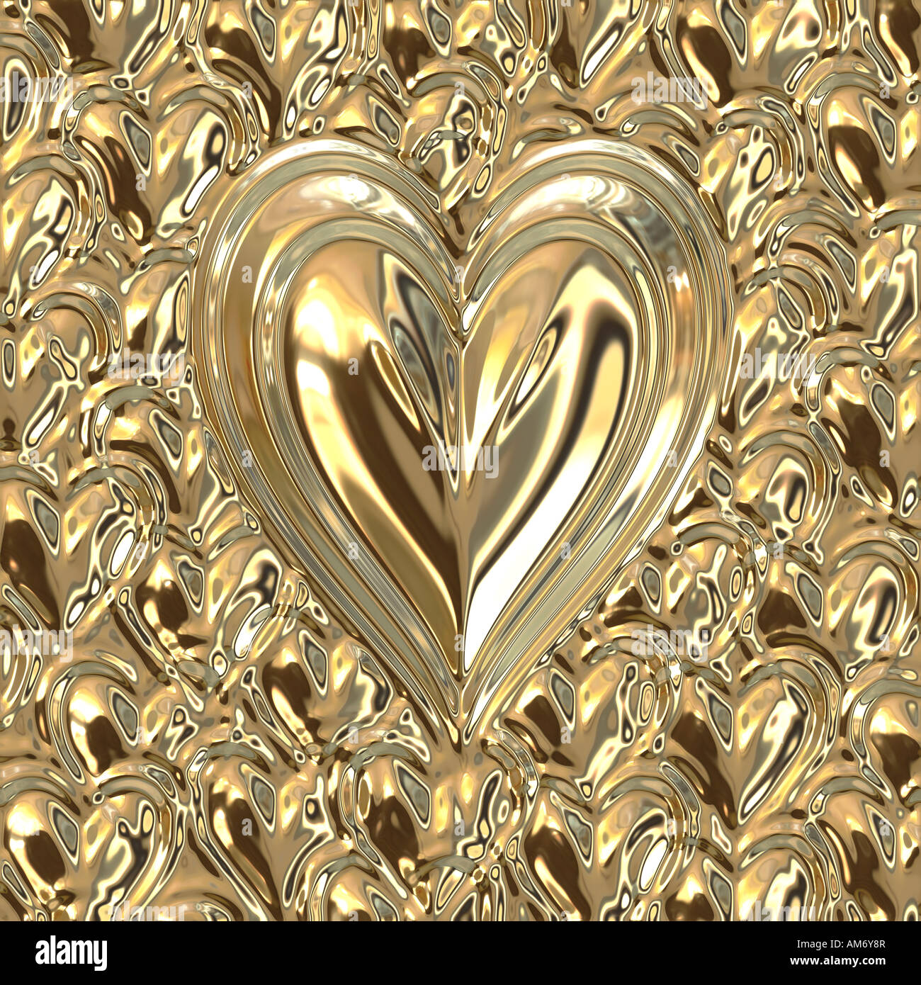 big bright golden metallic heart on small gold hearts - Stock Image