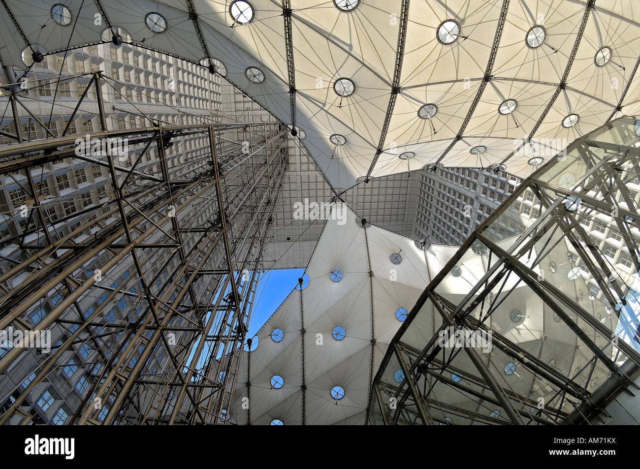 The Grande Arche at La Defense, seen from within the Arch, Paris - Stock Image