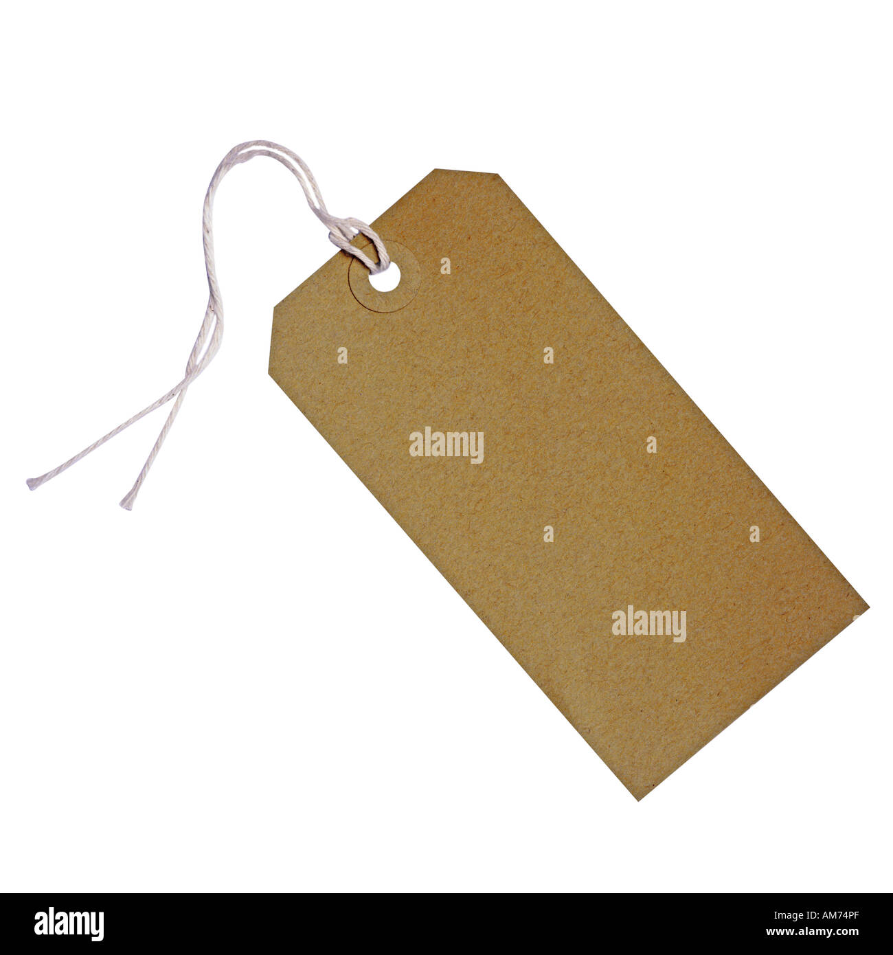 A brown paper luggage tag - Stock Image