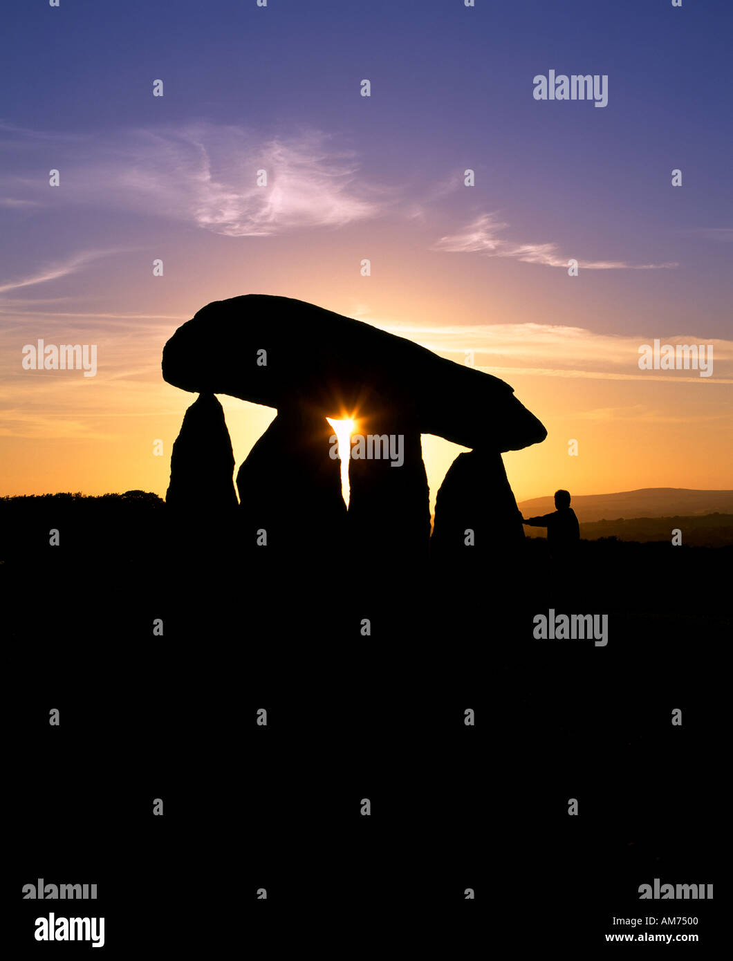 The remains of Pentre Ifan neolithic burial chamber, Dyfed, Wales. - Stock Image
