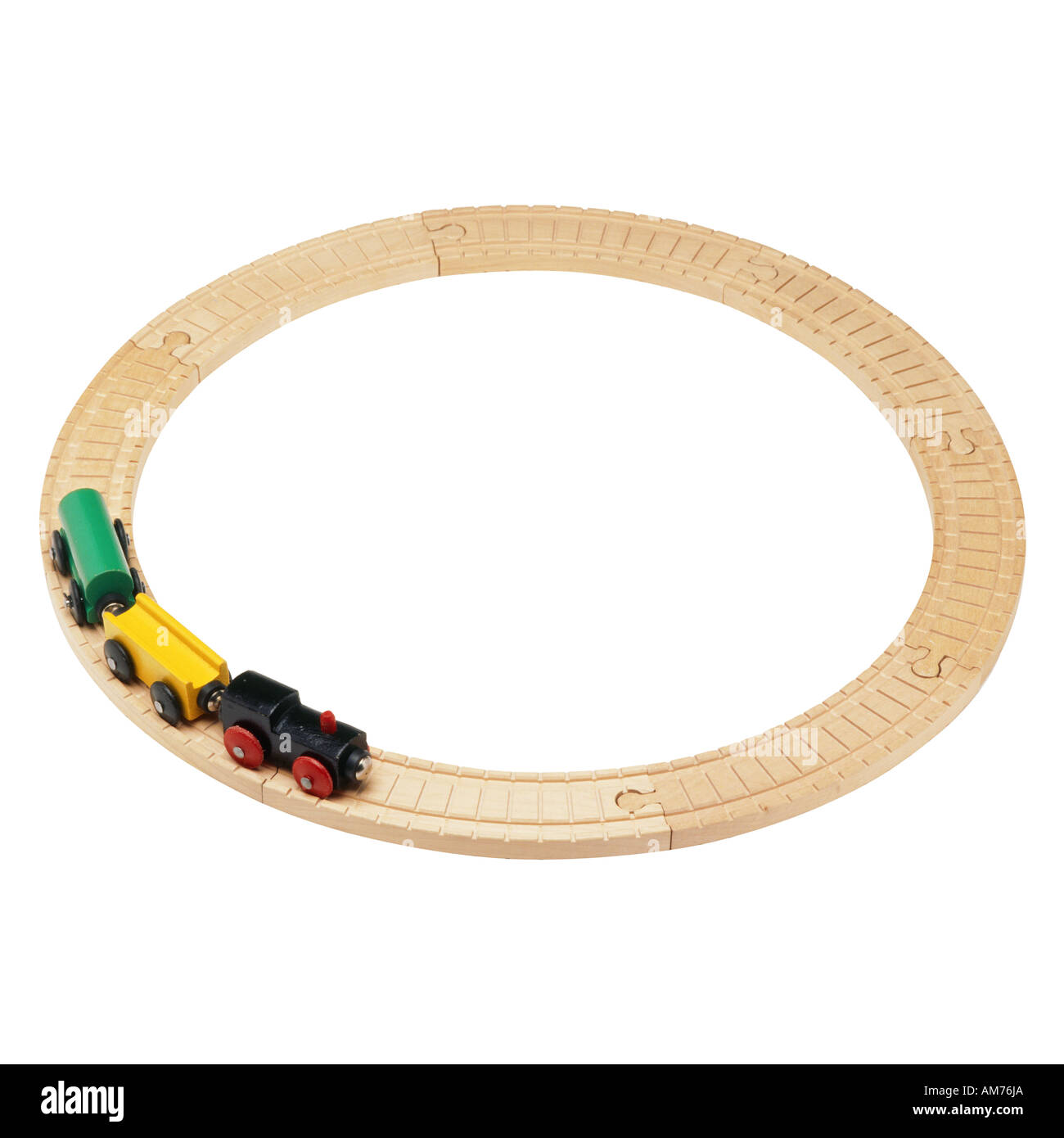 A toy train and train tracks - Stock Image