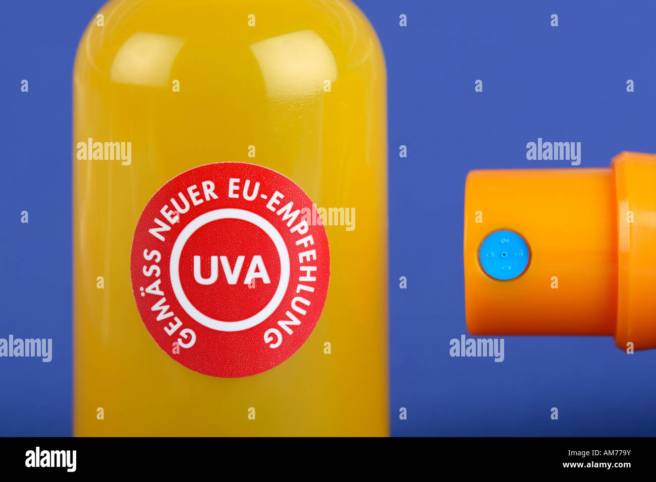 Sun protection suntan, detail, recommended by European Union regulation - Stock Image