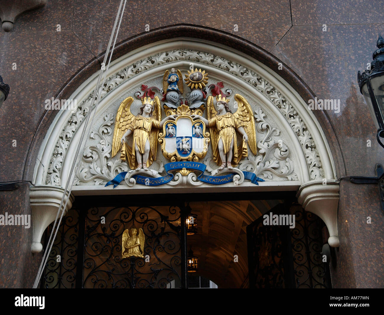 The Guild Crest above the entrance to Tallow Chandlers Hall, Dowgate Hill, London, EC4R 2SH - Stock Image