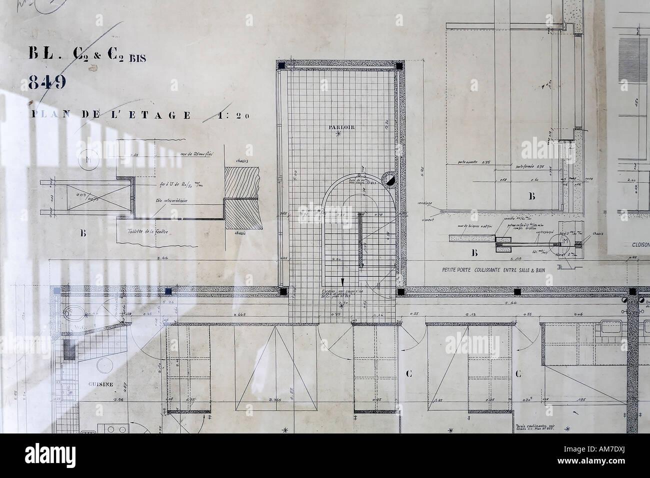 Le Corbusier House From 1927, Original Architectu0027s Plan Of The Upper Floor,  Weissenhof Museum