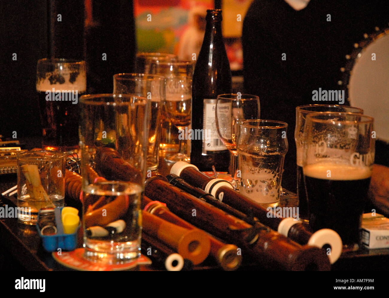 Sandy's bell folk music session Edinburgh Scotland - Music instrument and pint on beers on table - Stock Image