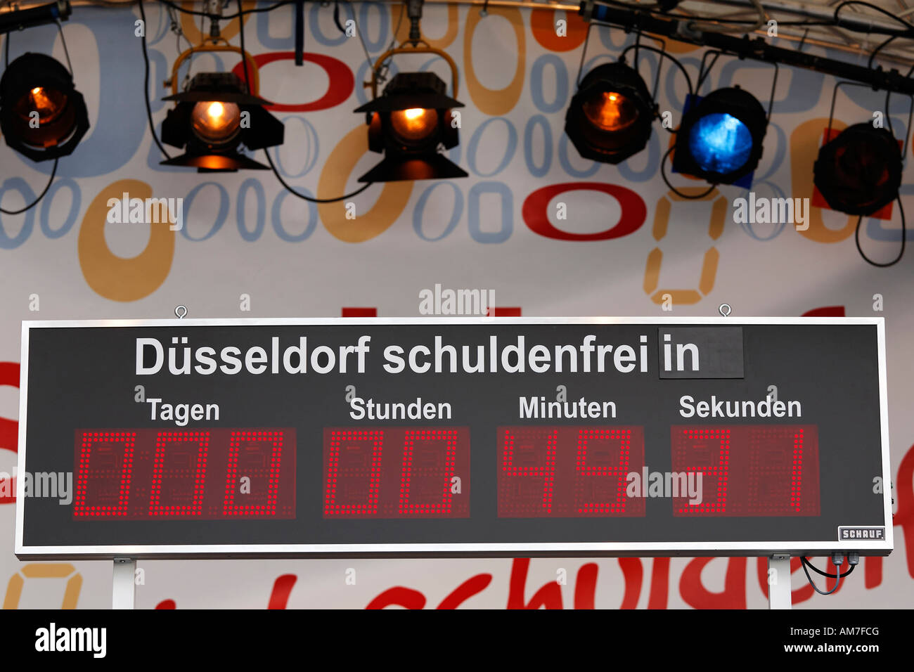 Countdown of the liability clock, Duesseldorf becomes second free of debt city in Germany, NRW - Stock Image
