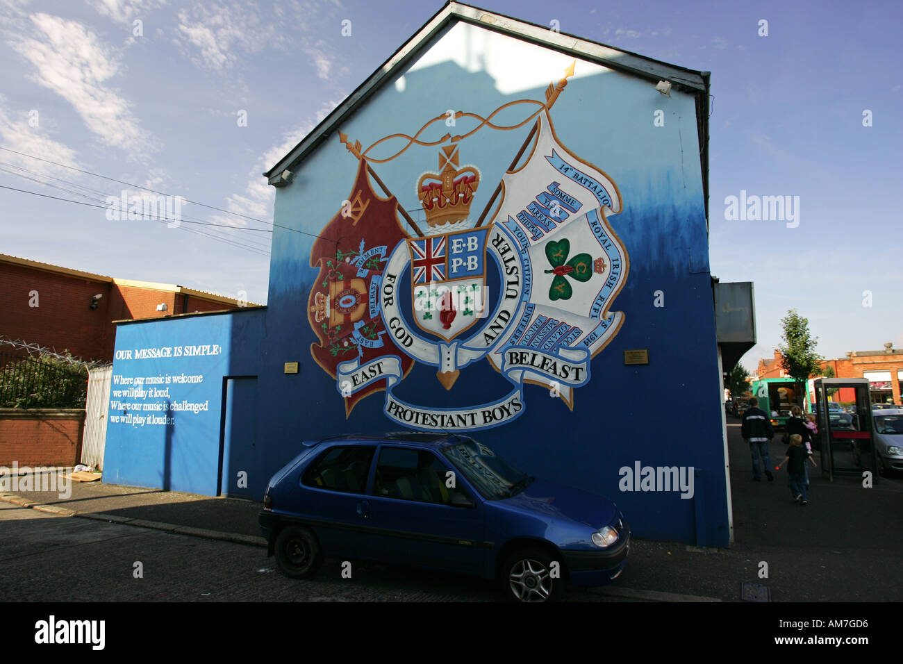 Famous tourist attraction the East Belfast Murals on Newtonards Road a Protestant area of Belfast Northern Ireland UK GB - Stock Image