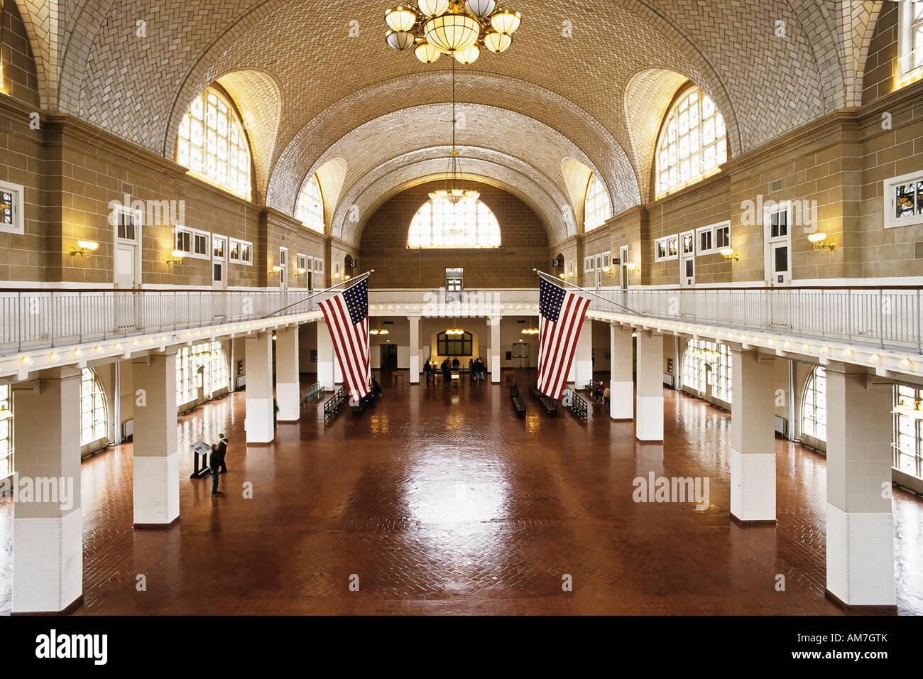 Ellis Island, main building, registration hall, History, New York City, USA - Stock Image
