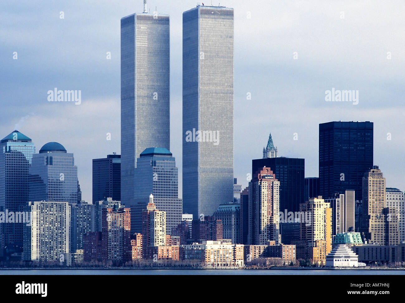 Hudson River Skyline with World Trade Center, 1997, New York City, USA - Stock Image