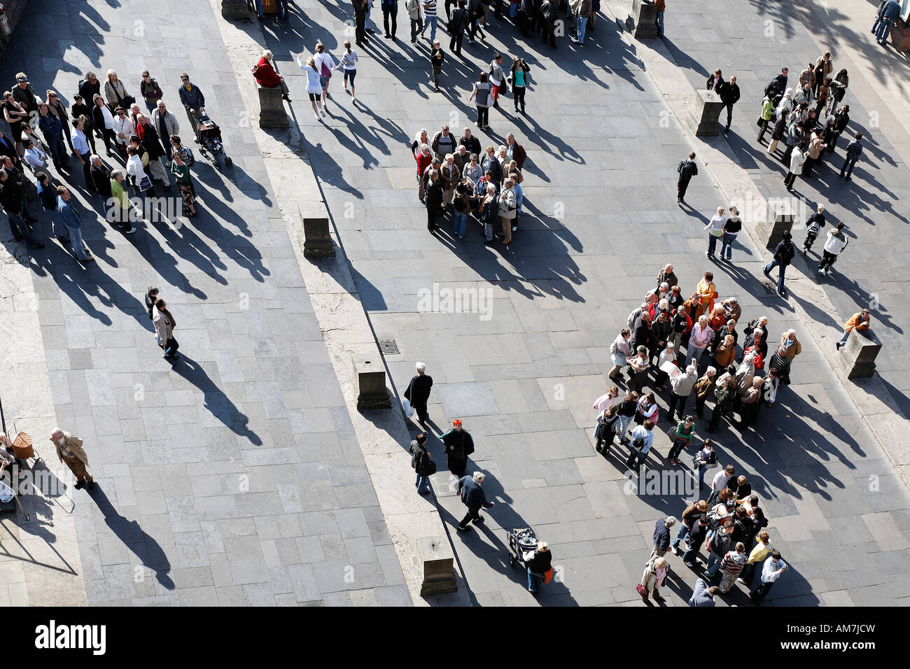Tourists at the square in front of Porta Nigra, bird's eye view, Trier, Rhineland-Platinate, Germany - Stock Image