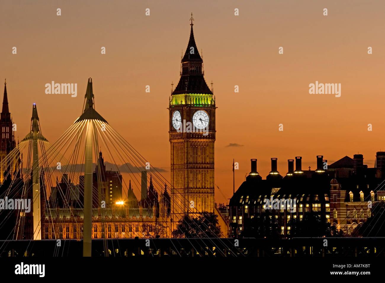 Big Ben at dusk - London - Stock Image