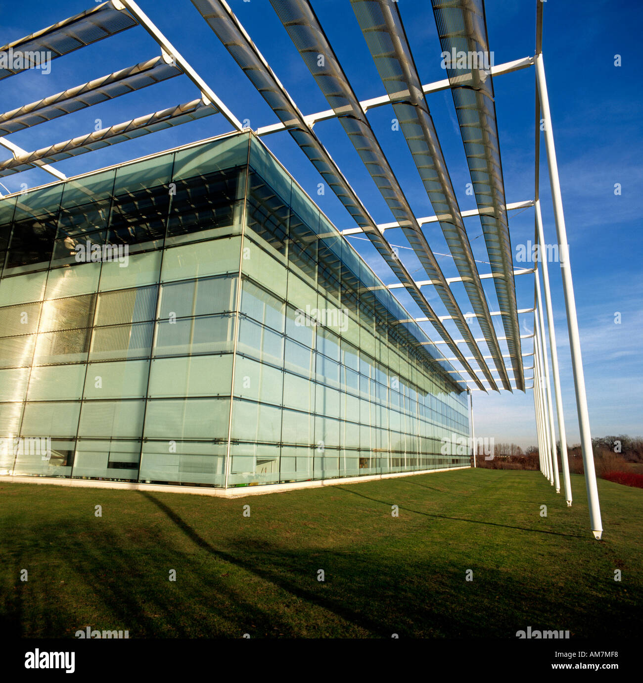 Abstract architectural view of office building exterior sun shades n ...