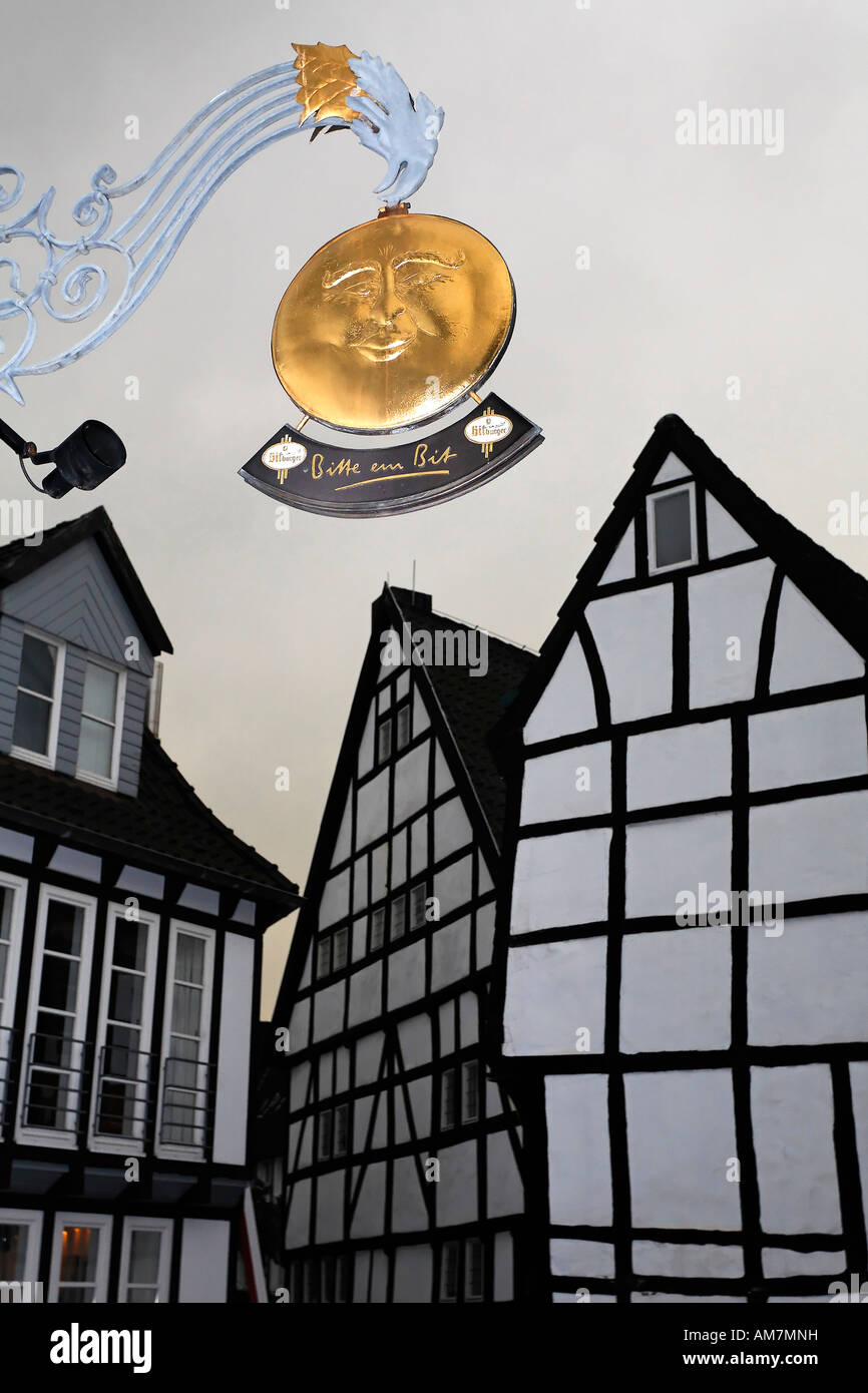 Pub sign golden full moon at the old part of town, Hattingen, NRW, Germany - Stock Image