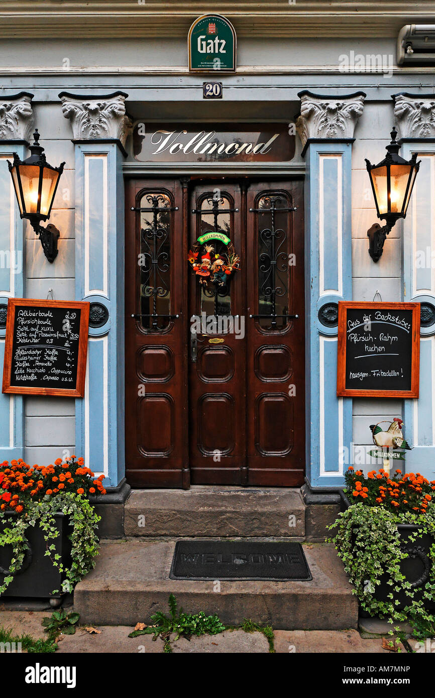 Entrande of the pub full moon at the old part of town, Hattingen, NRW, Germany - Stock Image