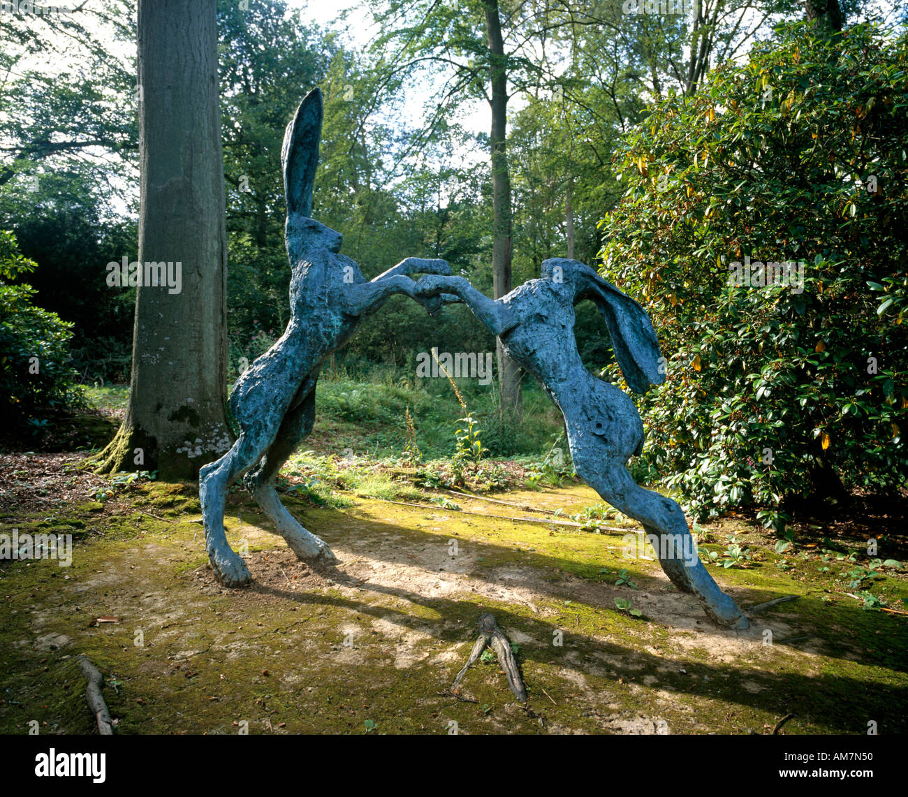 Outdoor Garden Rabbit Sculpture In Hannah Peschar Gallery Ockley Surrey  England UK
