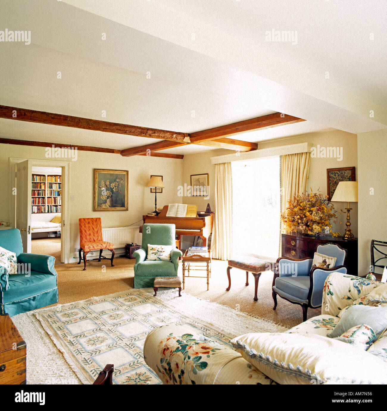 Sitting room in Phyllis Cottage country house Wiltshire England - Stock Image