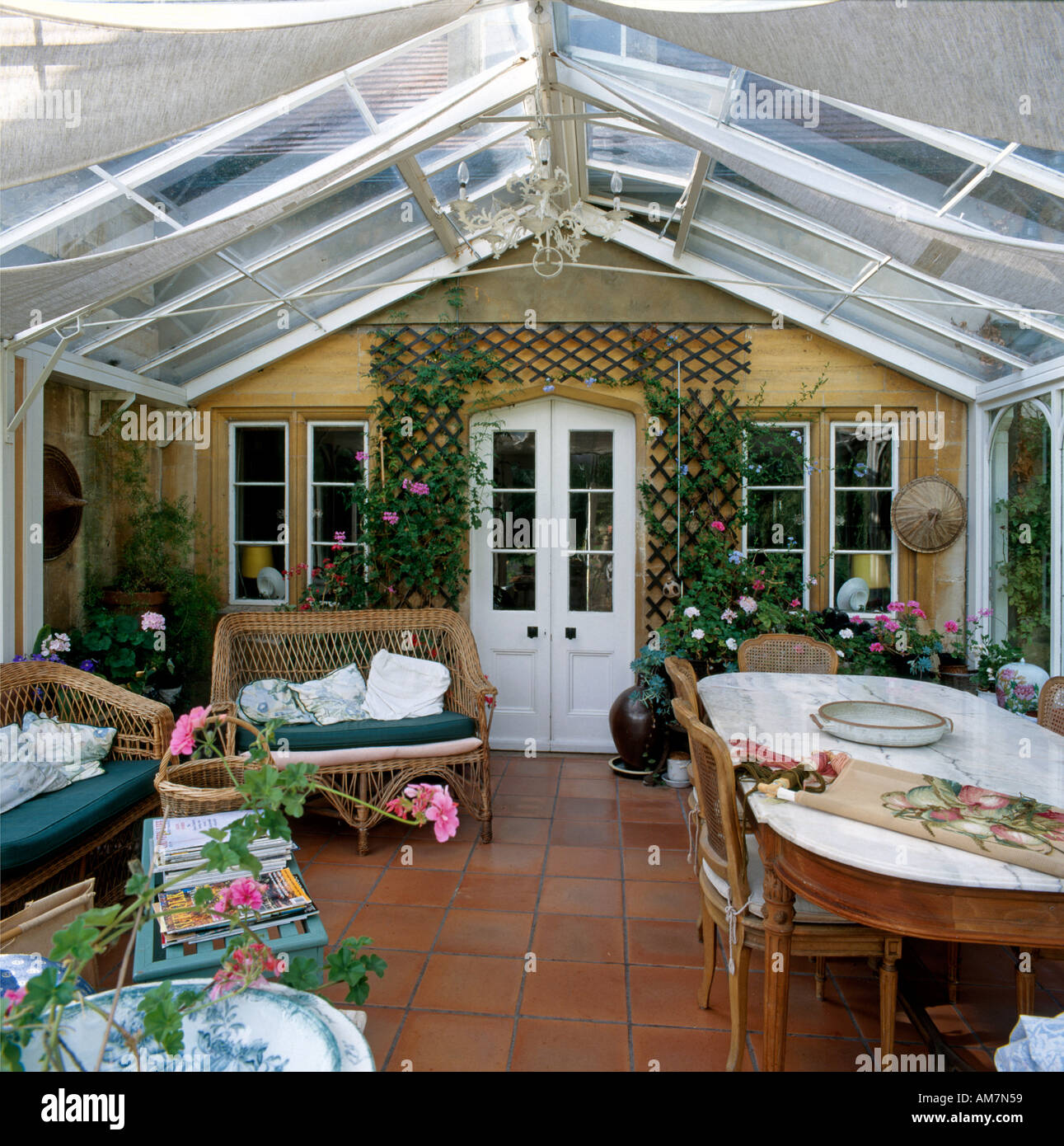Conservatory of Phyllis Cottage country house Wiltshire England - Stock Image