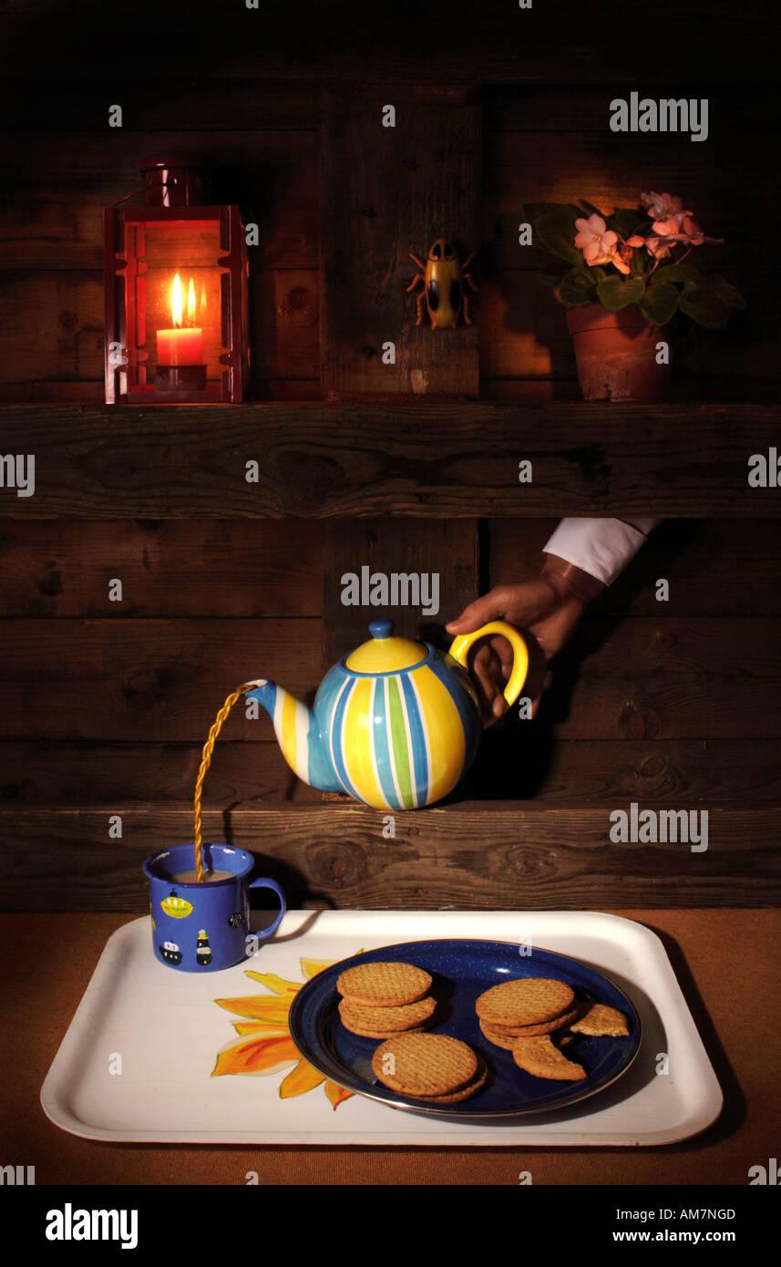 Creepy fantasy tea party. Still Life Art. - Stock Image