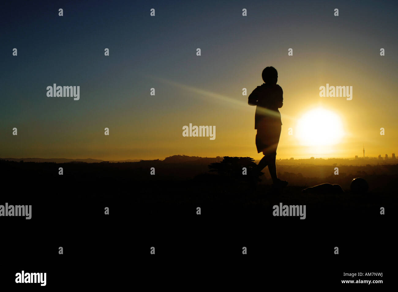 young man jogging at sunset - Stock Image