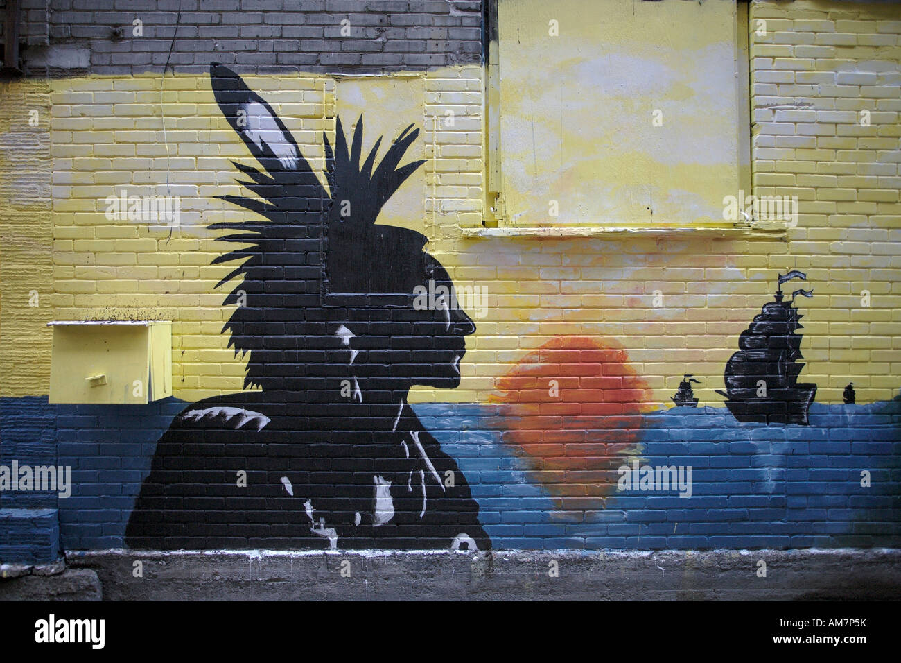Graffiti Of American Indian And Sailing Ships Le Village Montreal Quebec Canada