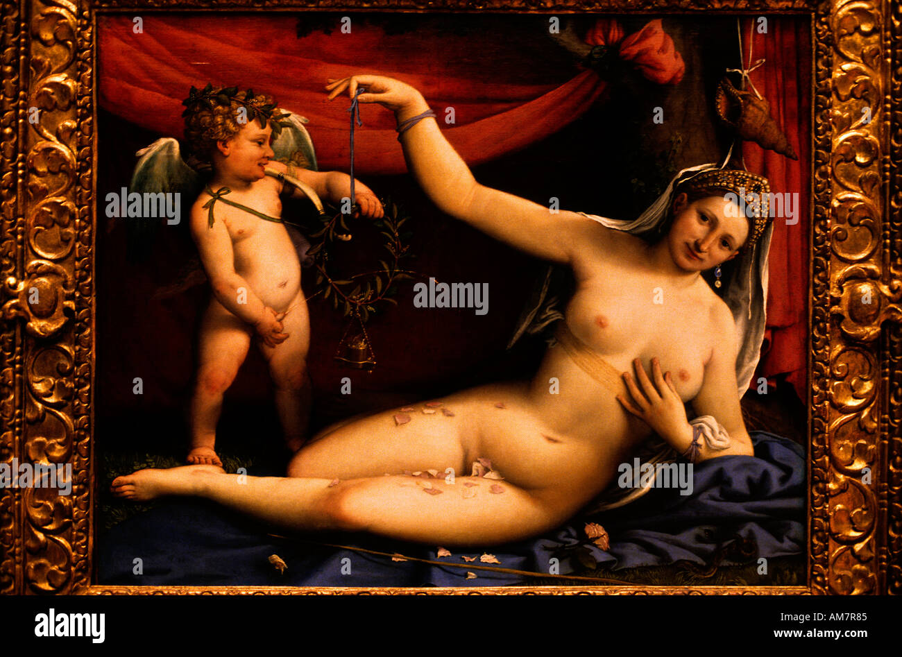 Venus and Cupid by Lorenzo Lotte 1480  painting  painting  art  depiction picture portrayal - Stock Image