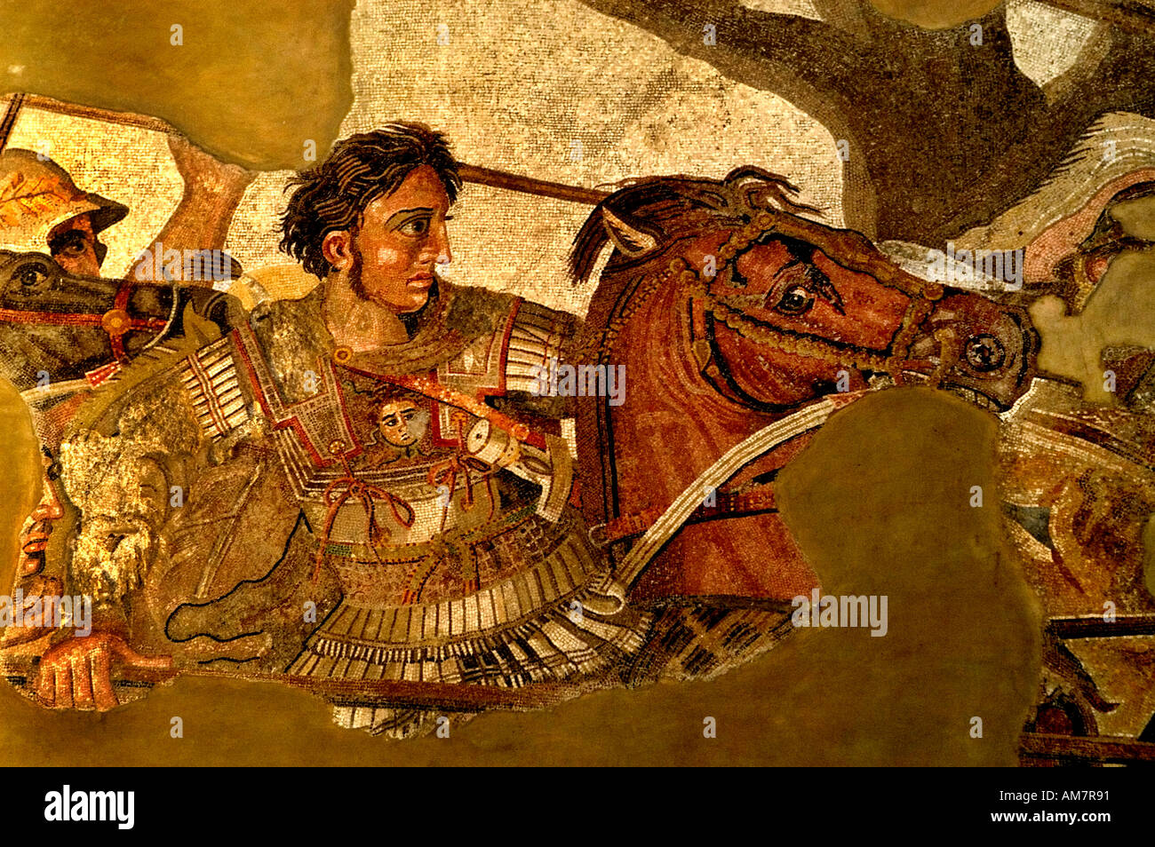 This image is Alexander  the Great in battle Persian King Darius III Alexander  the Great Issus 331 B. C . Mosaic Pompeii 100 B - Stock Image