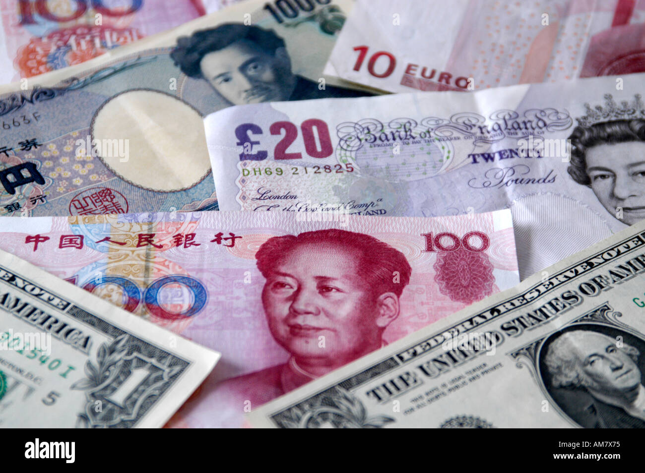 Mix of foreign currency notes - Stock Image