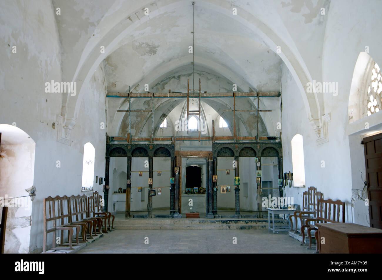 Agios Thyrsos Greek Orthodox Church interior Karpas Peninsula Northern Cyprus Stock Photo