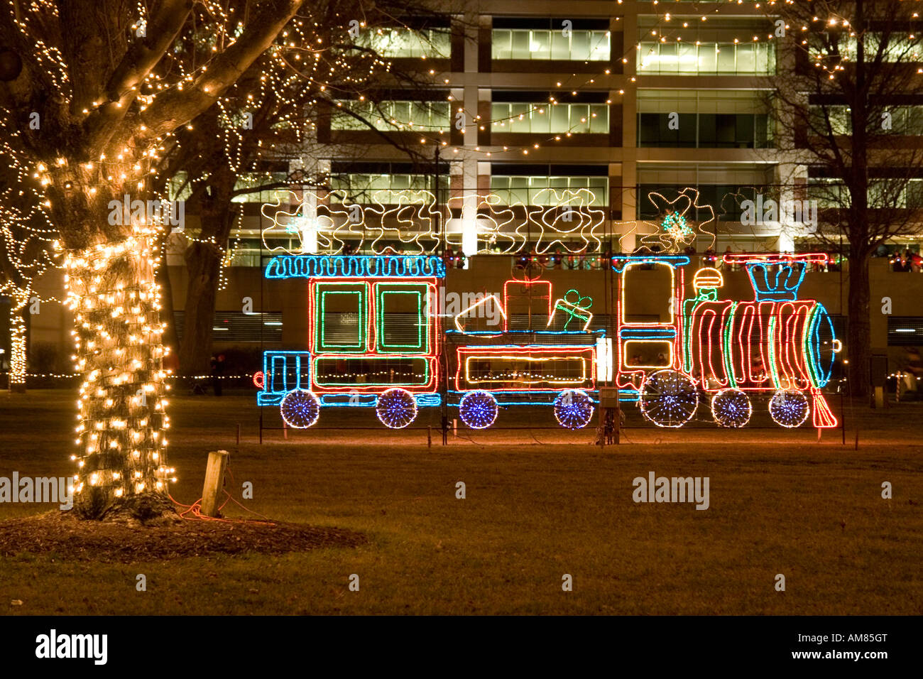 wisconsin usa rotary lights a christmas night parade at la crosse decorated neon light in a