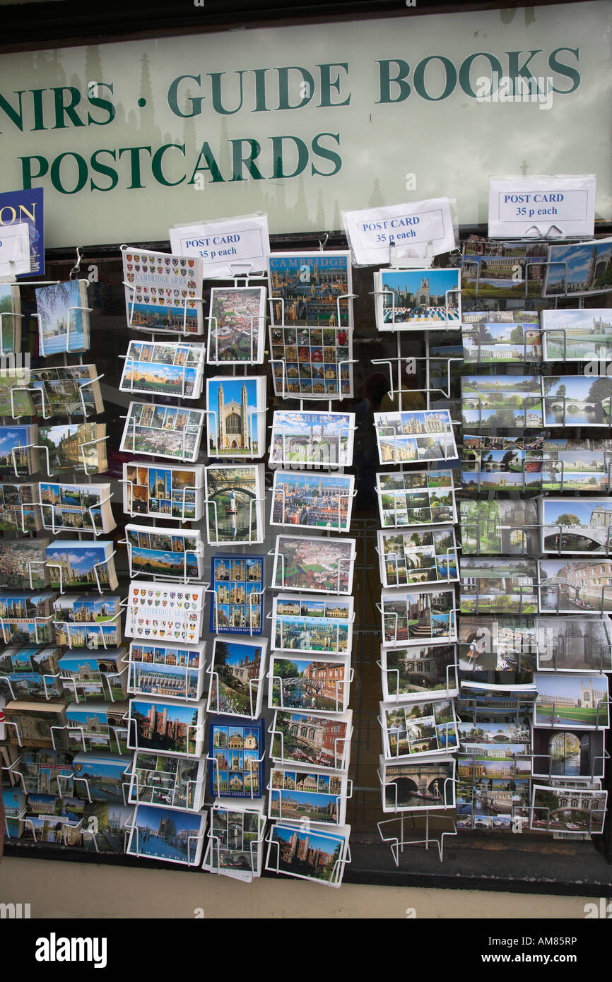Racks of postcards on display Cambridge England - Stock Image
