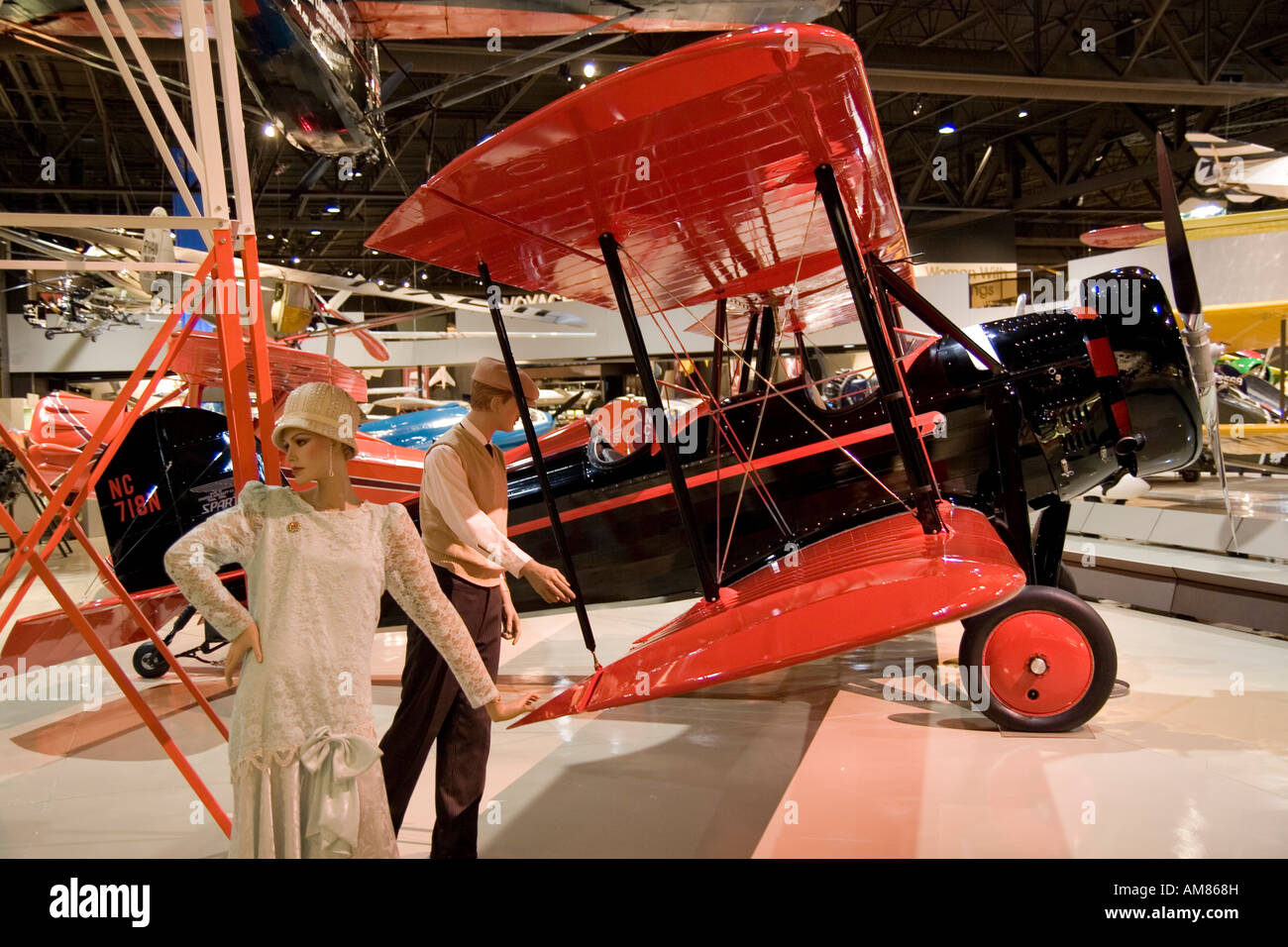 Wisconsin USA Oshkosh Air Venture Experimental Aviation Association EAA Museum Classic era biplane November 2006 Stock Photo