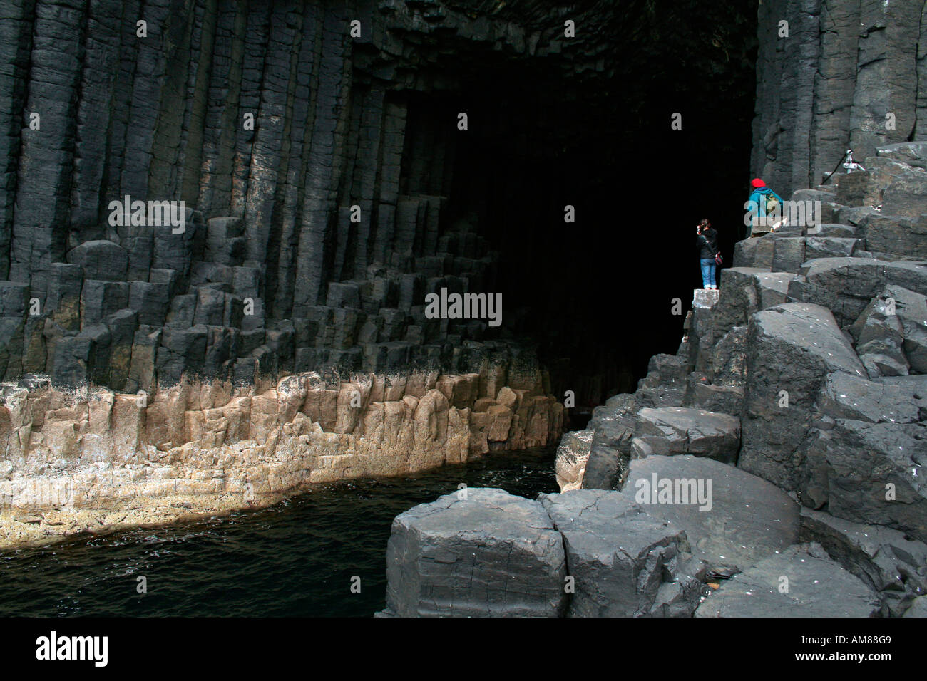 Fingal's Cave, Staffa, Treshnish Isles near Mull, West Coast of Scotland, UK - Stock Image