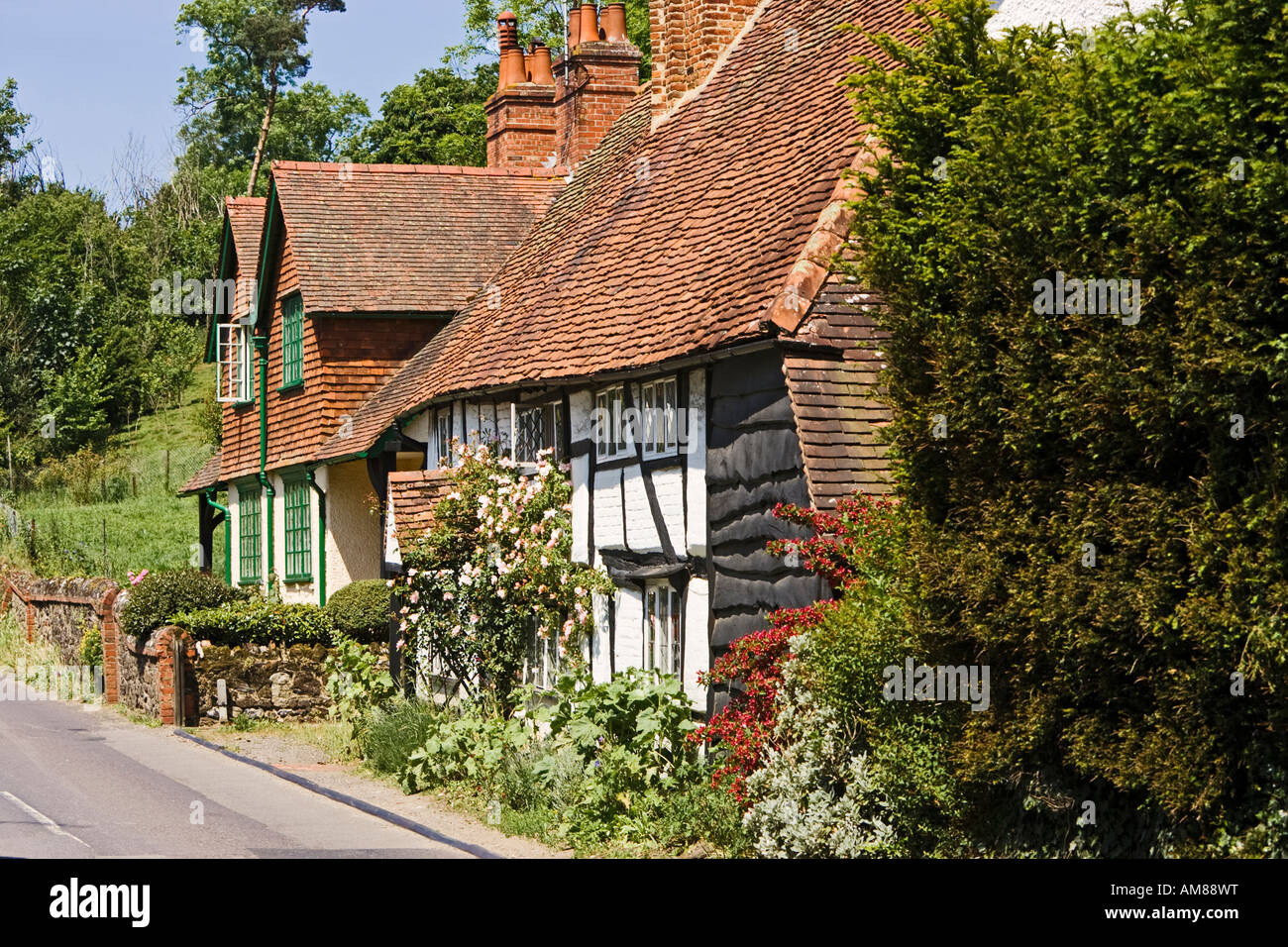Traditional Surrey architecture in the old village of Shere Surrey England UK - Stock Image