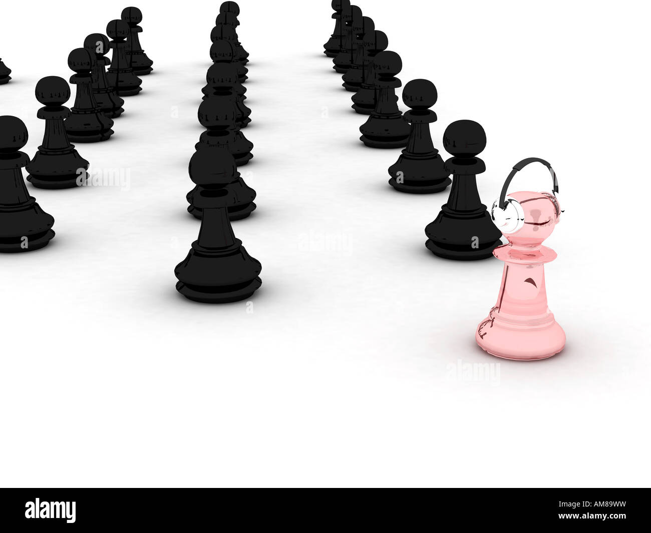 Black and pink pawns Represents conception of advancement growth progress evolution etc 3D rendering - Stock Image