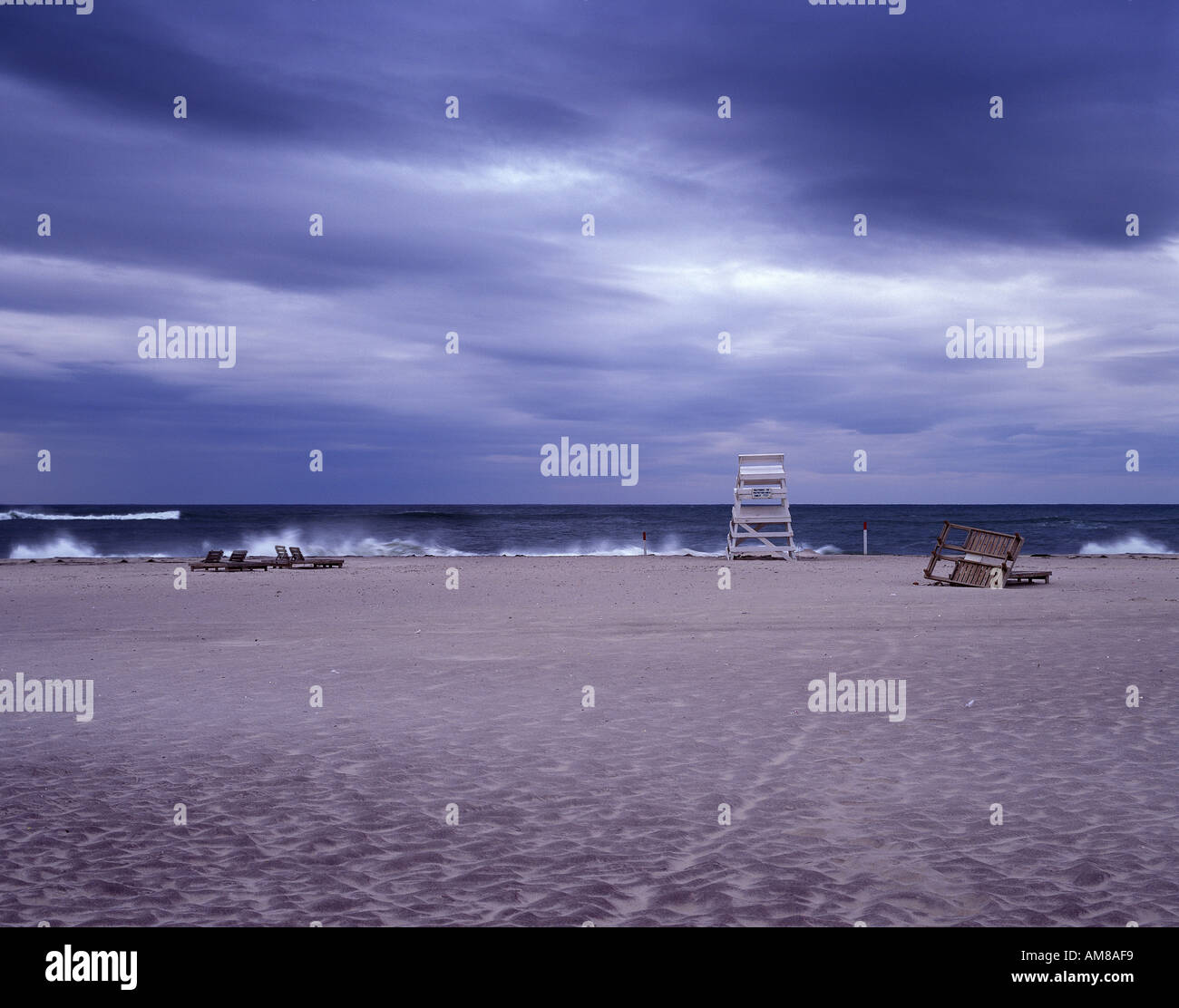 Empty beach during storm, Hamptons Beach, Long Island, New York, USA - Stock Image