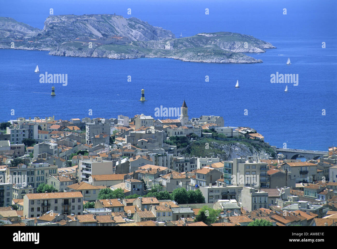 France, Marseille -  Endoume District looking towards Frioul Islands and the If-Castle - Stock Image