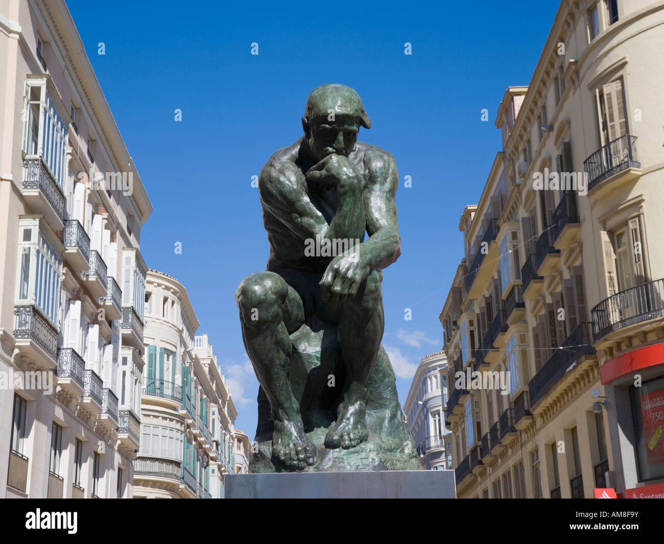 The Thinker by French artist Auguste Rodin on display in Calle Larios Malaga Spain December 2007 - Stock Image