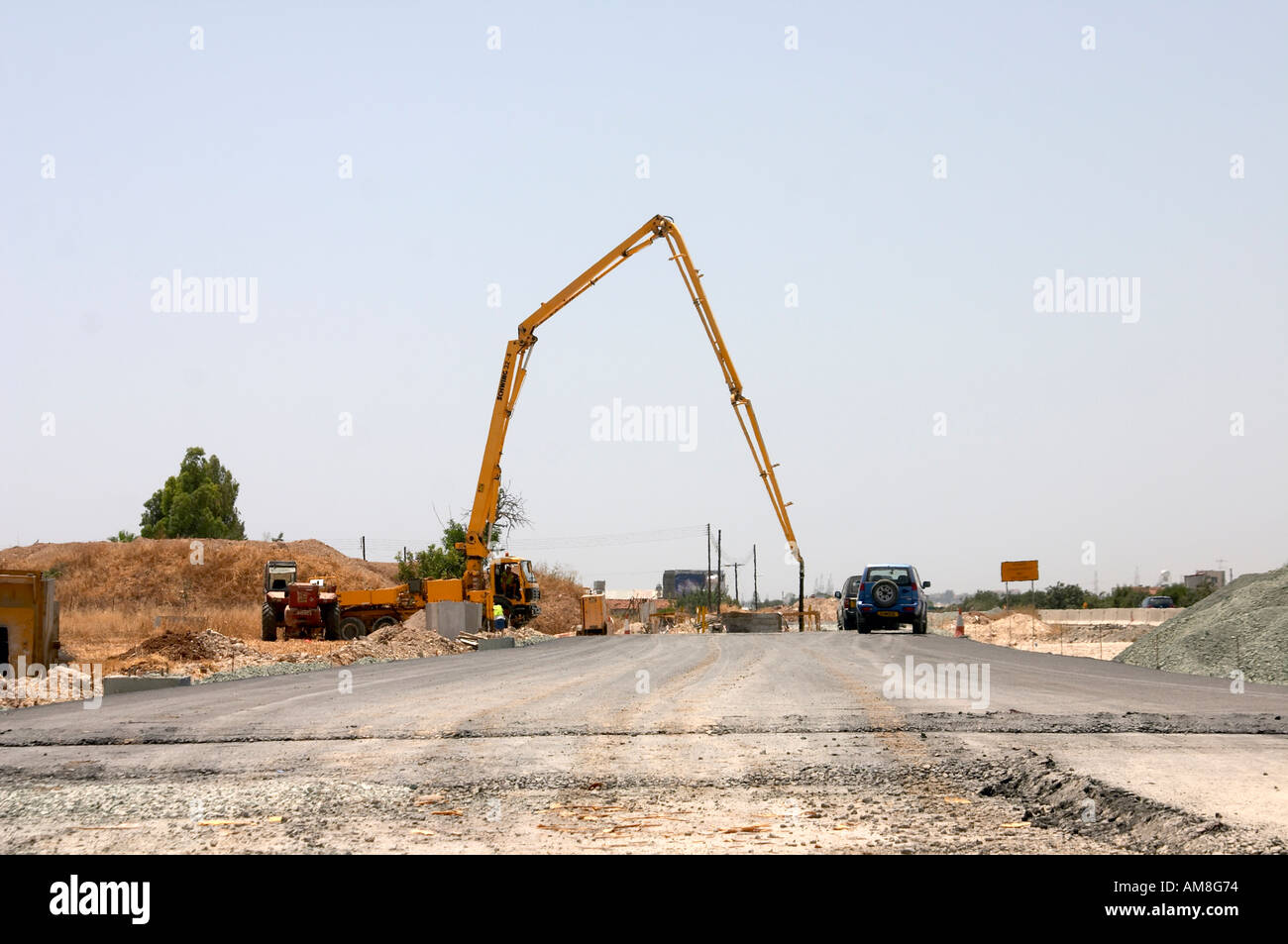 Concrete pump and Civil Engineering plant on Road