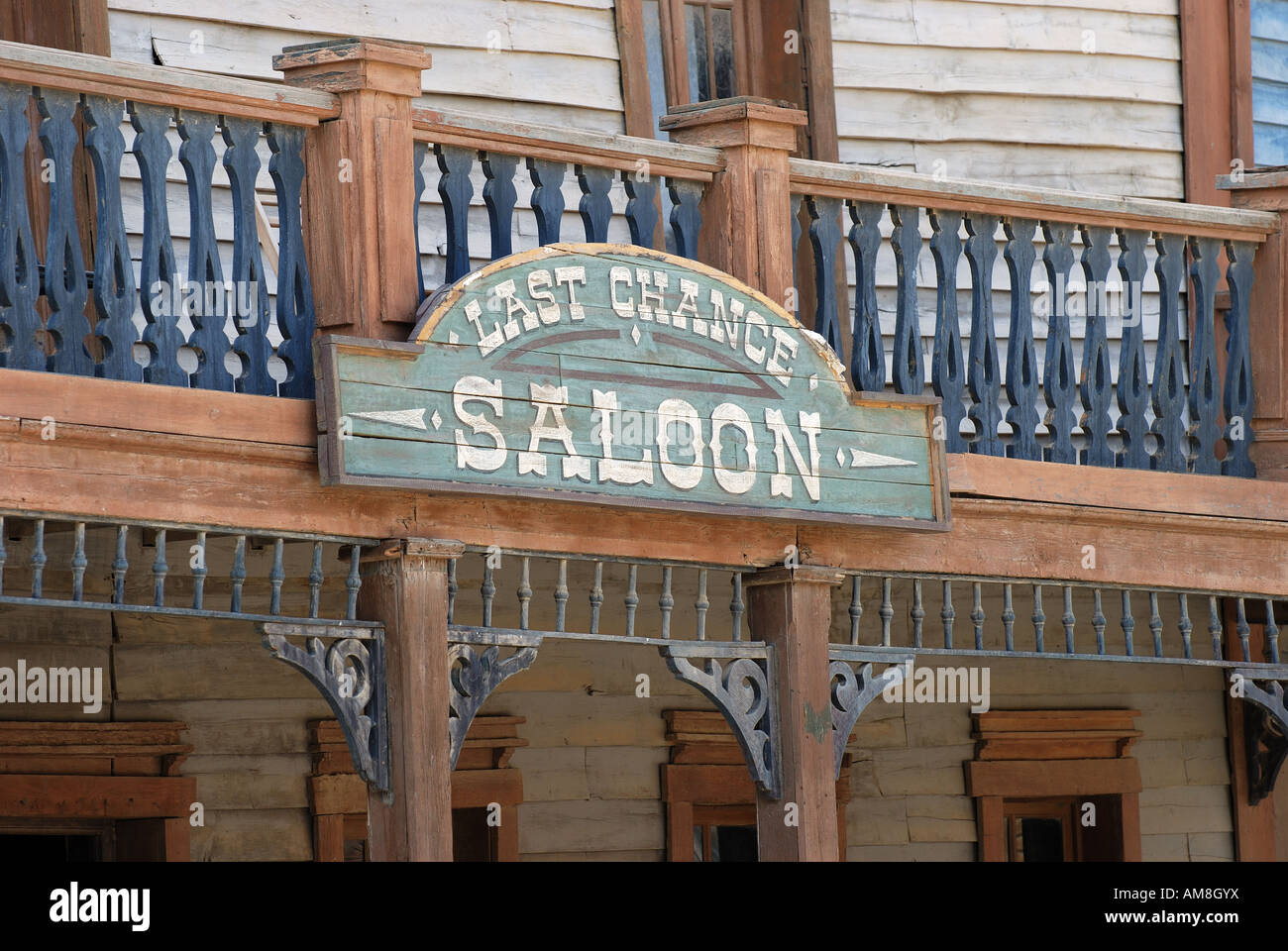 Last Chance Saloon in an old American Western style town Stock Photo
