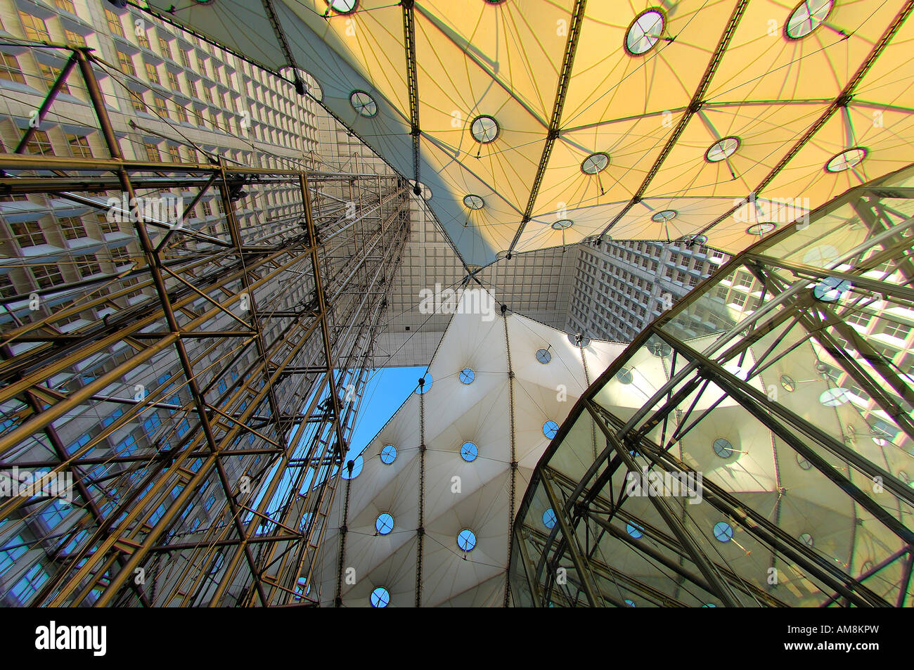 The Grande Arche at La Defense, seen from within the Arch - Stock Image