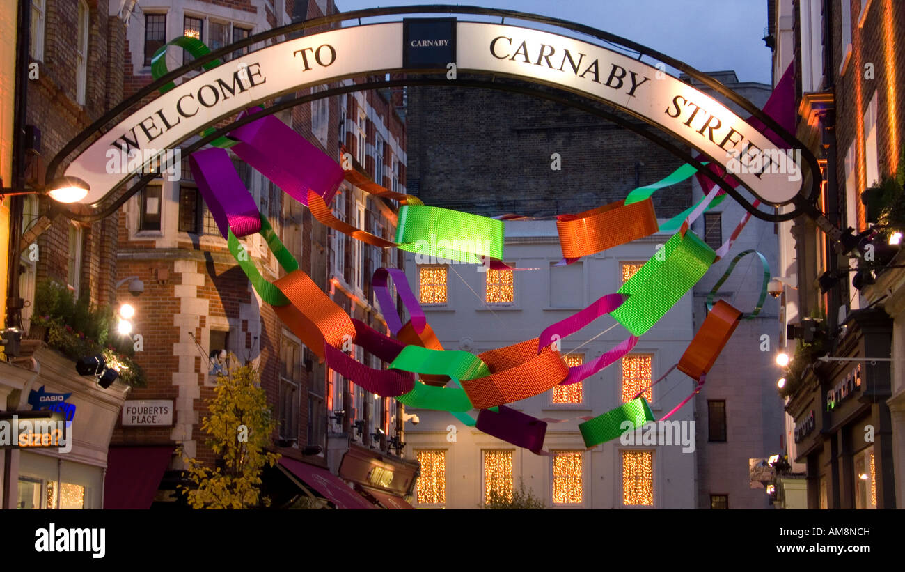 Christmas lights in Carnaby street london 2007 - Stock Image