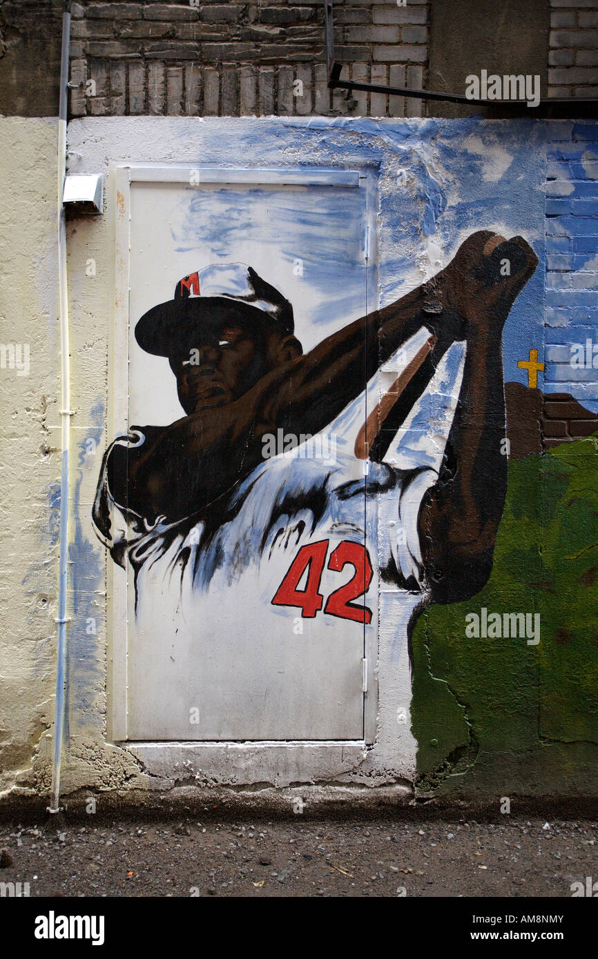 Graffiti of baseball player. Le Village, Montreal, Quebec, Canada - Stock Image