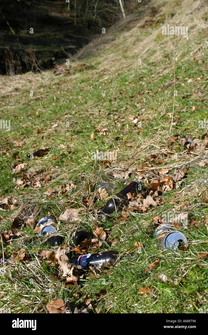 Discarded beer cans and bottles left in country location - Stock Image