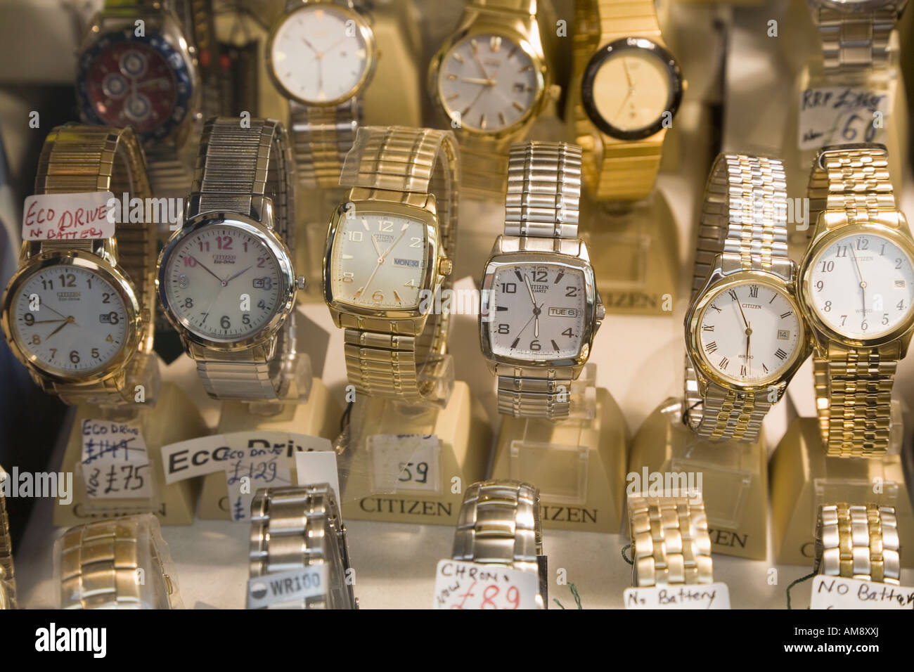 Gibraltar Watches for sale in shop window - Stock Image