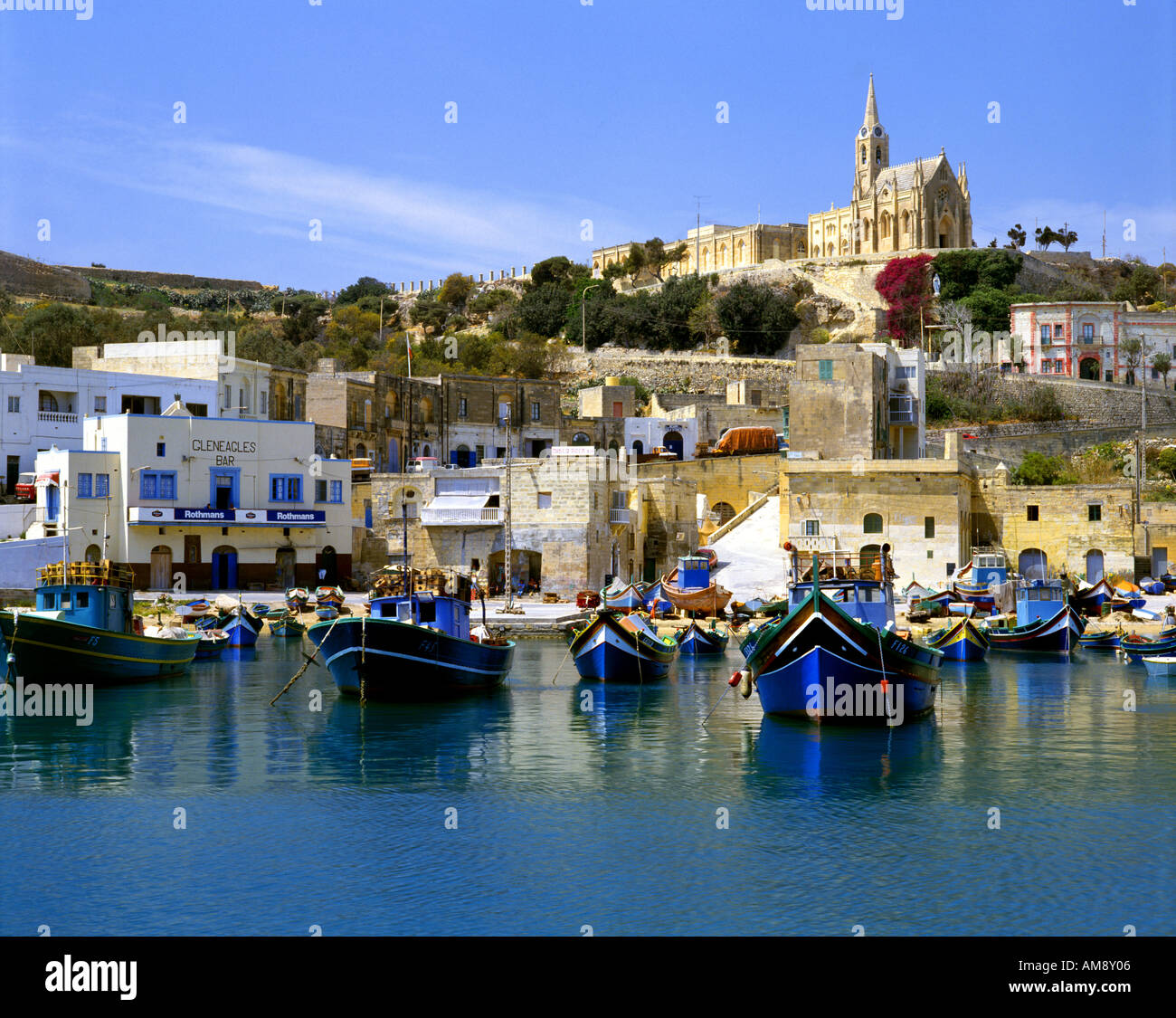 MT - ISLAND OF GOZO: Mgarr Harbour and Our Lady of Lourdes - Stock Image