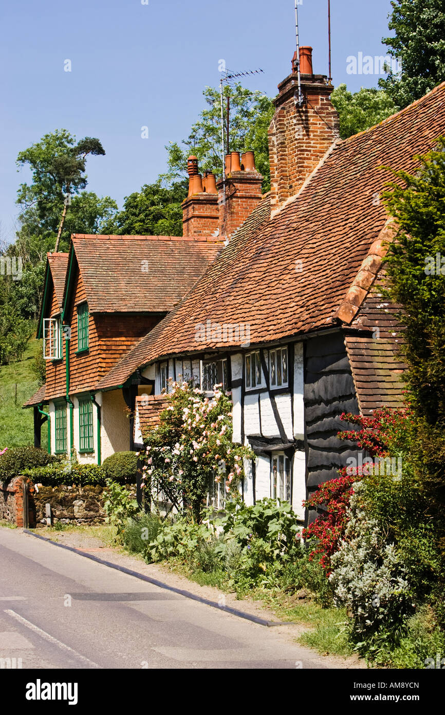 Surrey UK - Old cottages in the village of Shere in Surrey, England, UK - Stock Image
