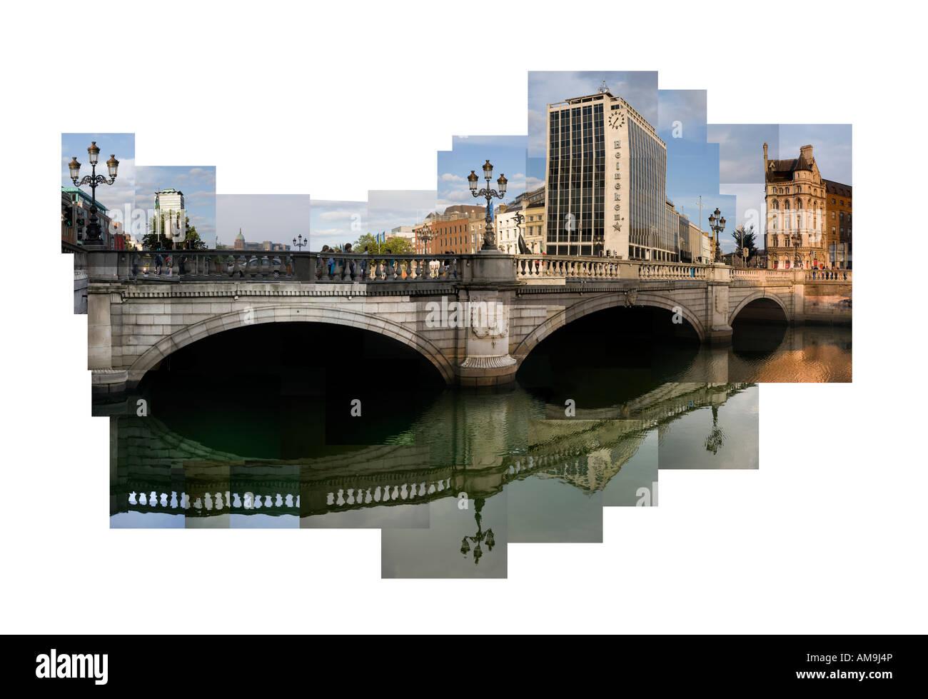 O'Connells Bridge and River Liffey, Dublin. - Stock Image
