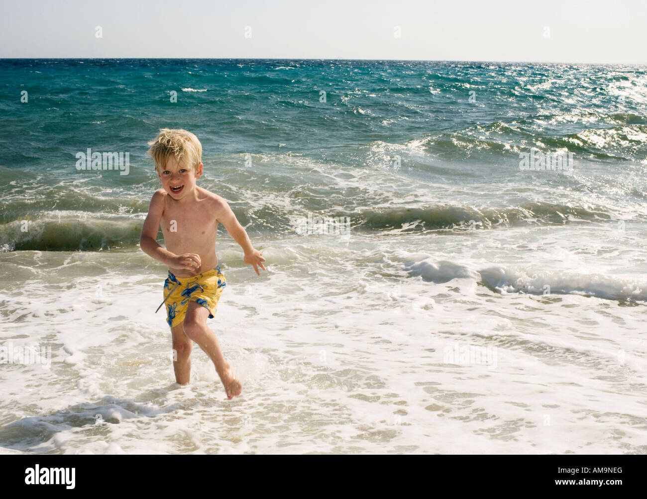 Young boy at the beach in shallow water smiling. Stock Photo